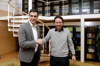 Líderes del PSOE y Podemos