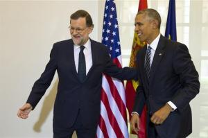 El presidente Mariano Rajoy y el presidente Barack Obama en su encuentro en la Moncloa